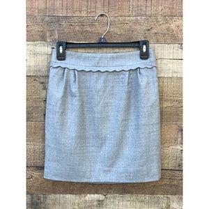 J.Crew Gray Wool Mini Size 0 EUC Scalloped